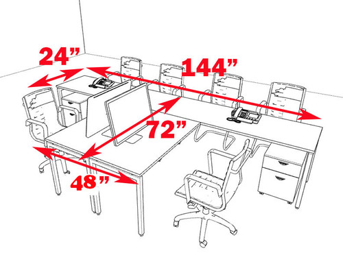 Two Persons Modern Executive Office Workstation Desk Set, #OF-CON-S11