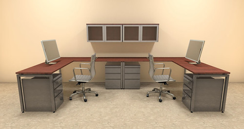Two Persons Modern Executive Office Workstation Desk Set, #OF-CON-S17
