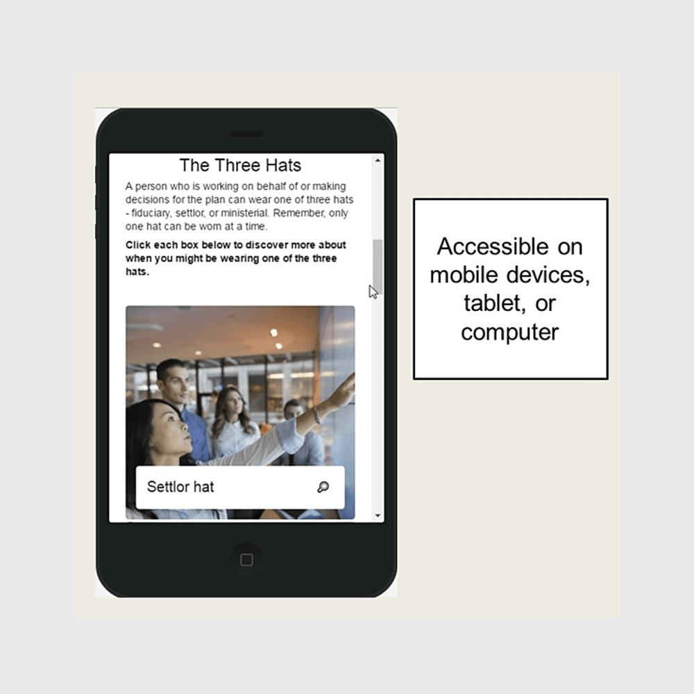 Fiduciary Training is accessible on mobile devices, tablet, and computer