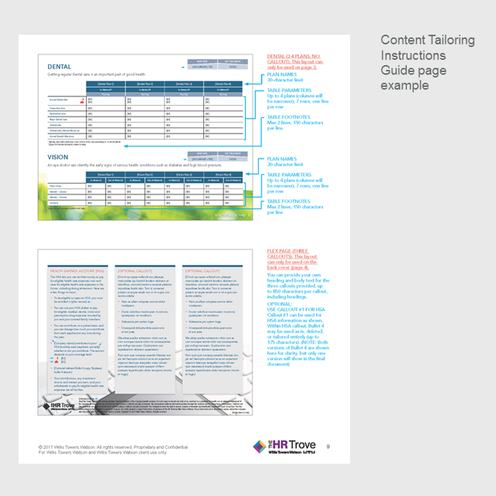 Benefits Enrollment Guide (4-page) Content Tailoring Guide Outdoor Vibrant pg 9