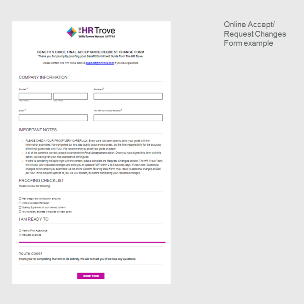 Online Proof Accept or Request Changes Form