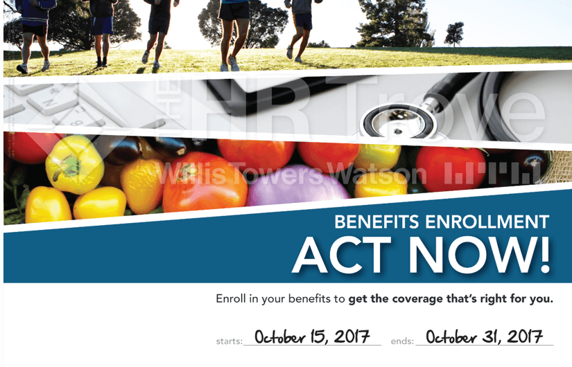 Benefits Enrollment Poster with example dates
