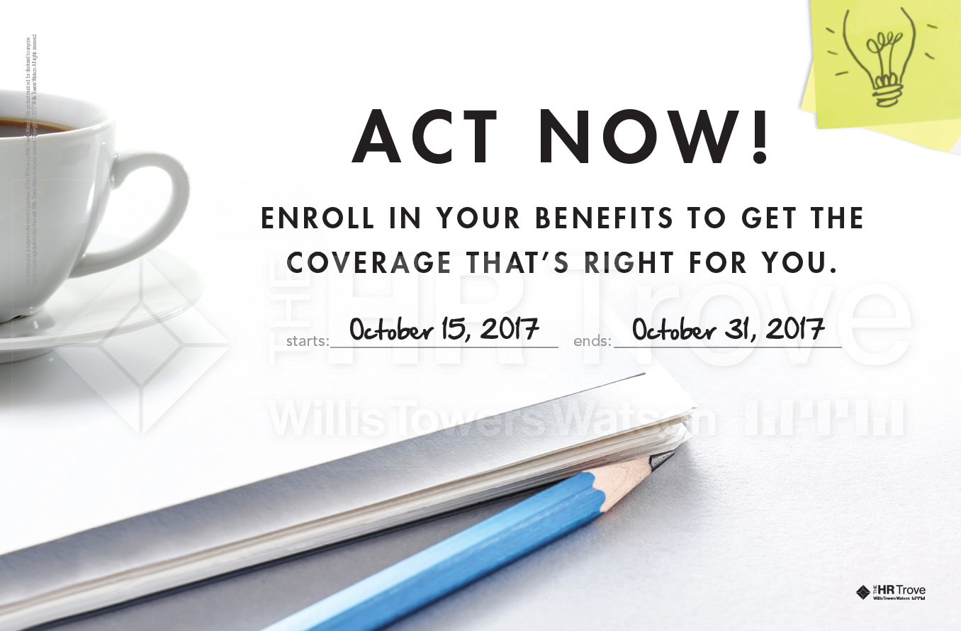Benefits Enrollment Poster with handwritten dates (Bright Ideas design)