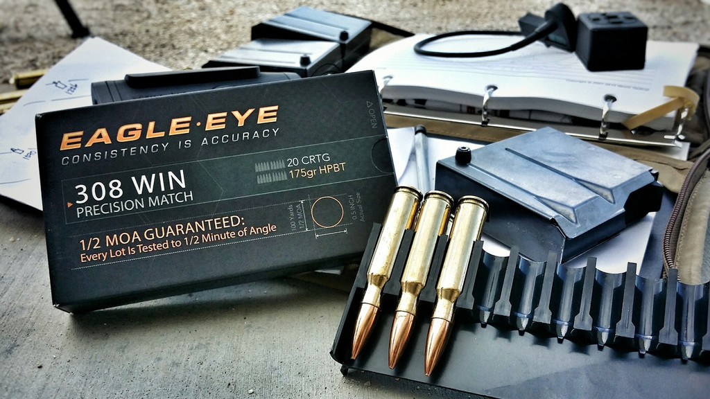 Eagle Eye Precision 308 Win 175gr HPBT Ammunition on the Range with DOPE Book
