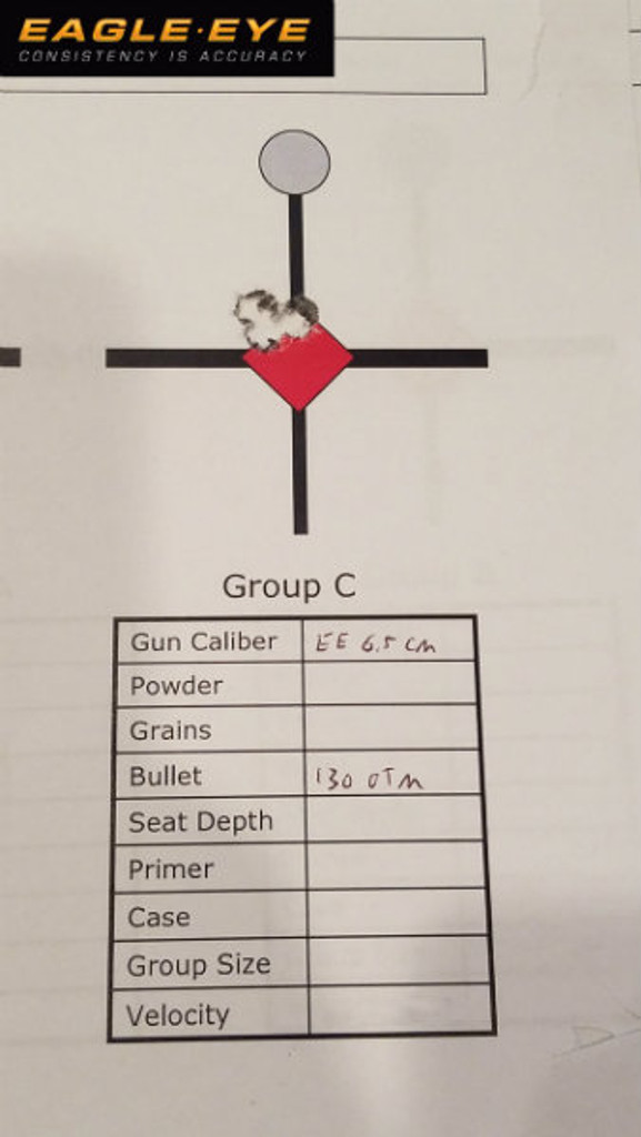 Eagle Eye Precision Match 6.5 Creedmoor 130gr Hybrid 5 Round Group