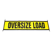 "Comply with road safety regulations with this ECTTS EZ Hook Oversize Load Sign. Its heavy-duty cord uses a bungee-style attachment with steel hooks to fasten easily to your trailer or load, and the black and yellow poly mesh vinyl material allows airflow that helps keep it in place.  - Dimensions: 18"" x 84"" 