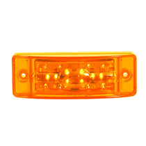 "Alert other motorists to your vehicle's size and location with this amber Maxxima Combination Clearance Marker. Featuring a nickel-plated brass connector and a 80-milliamp power draw, the light has 18 super-bright LEDs shielded by a polycarbonate lens and rated for 100,000 hours to ensure a long-lasting addition to your safety.  - Dimensions: 5.9"" x 2"" x 1.8"""