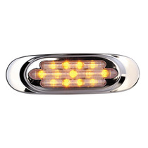 "Chrome Amber Clr. - 13 LED's  Amber, Amber Clear Lens  LED's 13 x 5 mm  Width 6.5""  Height 2""  Depth 0.9""  Mounting Surface  Connector PL-2  Easy Snap-On Stainless Steel Bezel Conceals Mounting Screws  Ideal for Cab and Sleeper Panels  100,000 Hour Rated"