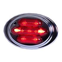 Maxxima Mini Chrome Oval Clearance Marker - Mini Red