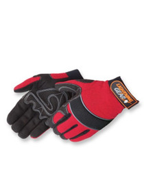 Lightning Gear® CrimsonWarrior™ Hi-Vis mechanic glove, Standard simulated black leather, Hi-Vis orange spandex fabric, Padded palm, Hook and loop closure. Size: XL 0915-RED-2XL,LIB,Liberty Gloves
