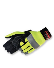 Lightning Gear® NeoKnight™ mechanic glove Premium simulated black leather palm patch Hi-Vis yellow spandex back with reflective tape at backside and fingertips Hoop & loop closure Size: XL  0915HY/RT- XL,LIB,Liberty Gloves