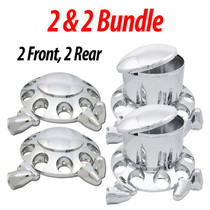 2x2 Bundled Wheel Hubcap Kit w/Nut Covers includes the following: (2 each) Chrome Plastic Front Axle Cover Kit - With Axle Cover, Removable Hubcap and 10 Nut Covers. (2 each) Chrome Plastic Rear Axle Cover Kit - Comes With Axle Cover, Removable Hubcaps.