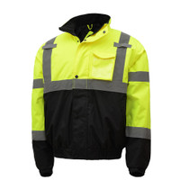 GSS Safety Lime Bomber Jacket, Waterproof w/Liner