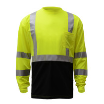 """Class 3 (Black Bottom) Long Sleeve T-Shirt Lime Color with Black Bottom ANSI / Class 3 / Class 3 T-Shirts / Leaders / Long Sleeve / Safety T-Shirts / Standard / Two Tone Birdseye Microfiber Breathable and Moisture Wicking, Polyester Mesh to Keep Cool 2"""" S"""