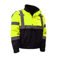 Class 3, 3-IN-1 Waterproof Bomber Jacket with New Removable Fleece A zip out fleece liner enhances the level of versatility provided by the waterproof Bomber Jacket. It covers you for three seasons.