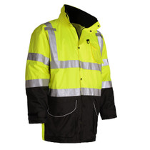 """Class 3 7-IN-1 3Mâ""""¢ ScotchliteTM Waterproof All Seasons Jacket-Lime Heavy weight winter 7-IN-1 jacket all called All season jacket. Zip out liner can be used as Class 2 body warmer and out shell can be used as Rain gear. ANSI / Class 3 / Leaders / Safety"""