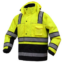 Class 3 Brilliant Zipper Waterproof Jacket ONYX Winter jacket features Teflon fabric protector which increases the life time and durability for garment. The quilted liner plus removable fleece lining provides extra warmth in winter time. Best seller in Pa
