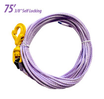 Synthetic Winch Line with Self Locking Hook | 3/8in x 75 foot