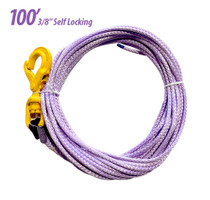 3/8in Synthetic Rope with Self Locking Hook, 100ft