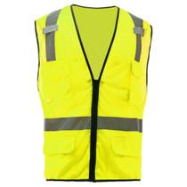 GSS Class 2, 6-Pocket Multi Vest, Mesh Zipper, Lime