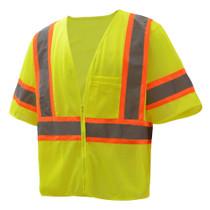 GSS Class 3, 2-Tone Zipper Mesh Vest, Lime