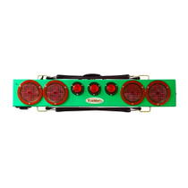 """This image typical of the Green 36"""" wireless truck bar system provides stop, tail, and turn w/ side marker lights on each end and three DOT lights in the center of the bar. This system comes complete with your choice of transmitter and a 7-pin plug to be used to connect 12VDC power to recharge the truck bar. Range 1000 feet."""