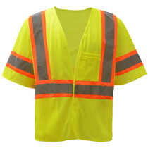 """Standard Class 3 Two Tone Mesh Hook & Loop Safety Vest Lime  GSS 