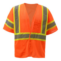 """Standard Class 3 Two Tone Mesh Hook & Loop Safety Vest Orange  GSS 