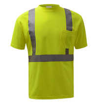 "Class 2 Moisture Control T-Shirt Lime GSS | OEM Part Number: 5001 Birdseye Breathable and Moisture Wicking Polyester Mesh to Keep Cool 2"" Silver Heat Transfer Reflective Tape 1 Left Front Pocket Certification: ANSI/ISEA 107-2015"