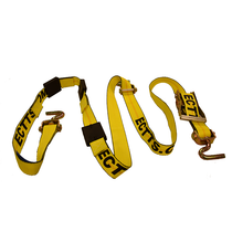 Tie Down Strap, Cargo Tie Down Adjustment Ratchet, Cargo Tie Down Length 9 ft. 2 In., Cargo Tie Down Width 2 In., Working Load Limit 3670 lb., Breaking Strength 11,000 lb, Cargo Tie Down Material Polyester, Cargo Tie Down End Material Steel, Color Yellow, Cargo Tie Down End Type Swivel J-Hook, For Use With Car Haulers - for trailers w/small holes in decking, Standards WSTDA-T-1