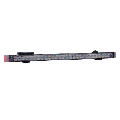 "59"" LED light bar features four evenly spaced light heads on the front, four on the back, and new style end caps that are active. In addition, the bar features two high intensity work lights and 'green wire' compatible wireless S/T/T lights. Includes HWTX-G hardwire wireless transmitter."