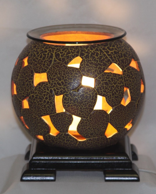 Brown Hearts Pottery Electric Oil Burner / Includes a Bottle Of Fragrance Burning Oil