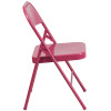 Hercules Colorburst Series-Triple Braced & Double Hinged Metal Folding Chair-Fuchsia