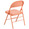 Hercules Colorburst Series-Triple Braced & Double Hinged Metal Folding Chair-Coral