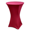 "Spandex Cocktail Table Linens for 30"" Round Top in 42""Height-Burgundy"