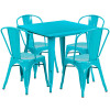 """Indoor/Outdoor Cafe Metal 5 Piece set- 31.5"""" Square Table set with 4 Stack Chairs-Crystal Teal"""