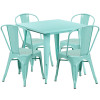 """Indoor/Outdoor Cafe Metal 5 Piece set- 31.5"""" Square Table set with 4 Stack Chairs-Mint"""