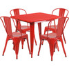 """Indoor/Outdoor Cafe Metal 5 Piece set- 31.5"""" Square Table set with 4 Stack Chairs-Red"""