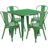 """Indoor/Outdoor Cafe Metal 5 Piece set- 31.5"""" Square Table set with 4 Stack Chairs-Green"""