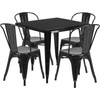 """Indoor/Outdoor Cafe Metal 5 Piece set- 31.5"""" Square Table set with 4 Stack Chairs-Black"""