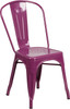 """Indoor/Outdoor Cafe Metal 5 Piece set- 31.5"""" Square Table set with 4 Stack Chairs-Purple Chair"""