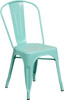 """Indoor/Outdoor Cafe Metal 5 Piece set- 31.5"""" Square Table set with 4 Stack Chairs-Mint Chair"""