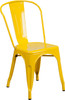 """Indoor/Outdoor Cafe Metal 5 Piece set- 31.5"""" Square Table set with 4 Stack Chairs-Yellow Chair"""