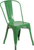 """Indoor/Outdoor Cafe Metal 5 Piece set- 31.5"""" Square Table set with 4 Stack Chairs-Green Chair"""