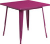 """Indoor/Outdoor Cafe Metal 5 Piece set- 31.5"""" Square Table set with 4 Stack Chairs-Purple Table"""