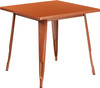"""Indoor/Outdoor Cafe Metal 5 Piece set- 31.5"""" Square Table set with 4 Stack Chairs-Copper Table"""