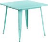 """Indoor/Outdoor Cafe Metal 5 Piece set- 31.5"""" Square Table set with 4 Stack Chairs-Mint Table"""