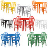 Metal Indoor/Outdoor Cafe Table Set with Vertical Slat Chairs