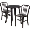"Metal Indoor/Outdoor Cafe Table Set with Vertical Slat Chairs-24"" Round with 2 Chairs-Antique Gold"