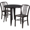 "Metal Indoor/Outdoor Cafe Table Set with Vertical Slat Chairs-30"" Round with 2 Chairs-Antique Gold"